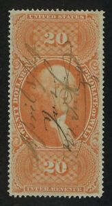 US REVENUE #R99c $20.00 PROBATE OF WILL used, XF/S (Extremely Fine/Superb) RARE