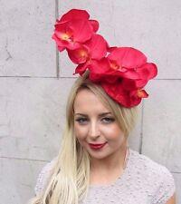 Red Orchid Flower Fascinator Hat Headband Races Wedding Vintage Headpiece 3252