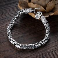 Solid 925 Sterling Silver Byzantine Chain Bracelet Handmade Jewelry Gift 6MM