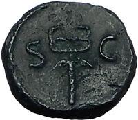 ANONYMOUS 81-196AD Rome Quadrans Authentic Ancient Roman Coin MERCURY i65519