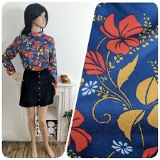 Vintage 70s Navy Red Floral Blouse Shell Top Turtleneck Mod Psych 10 12 38 40