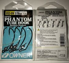 Owner Phantom Tubhook Weedless Weighted Bass Hook 4ct 1/16oz 5/0 5153-014 New