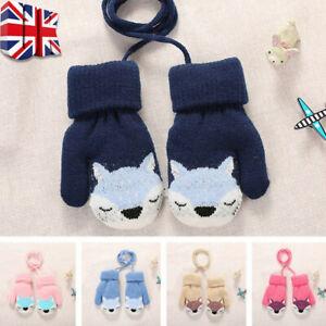1 Pair Cartoon Fox Warm Knitted Gloves Wool Thick Plush Mitten for Baby Winter