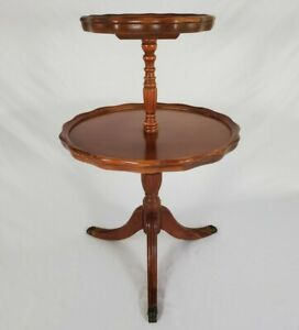 Vintage 2 Tier Piecrust Table Dumbwaiter Duncan Phyfe Style Furniture Claw Feet