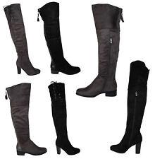 Damen Overknee Stiefel High Heels Stiefeletten Boots Gogo Overkneestiefel neu