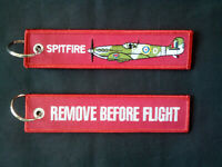 Cloth Keyring with Spitfire on one side, Remove Before Flight on the other