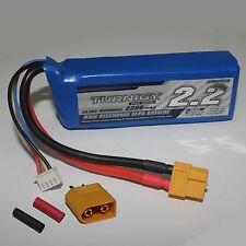 1x Turnigy Lipo Akku 2200mAh 3S 11,1V 20C–30C mit XT60 Stecker und Schrumpfschl.
