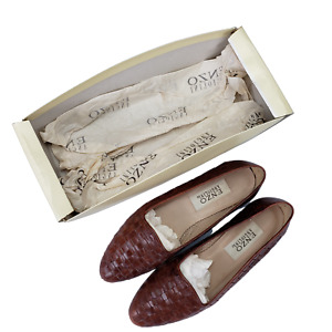 Enzo Angiolini Brown Woven Leather Shoes Yo-Geniuss Womens Lion Slip-on Size 8N