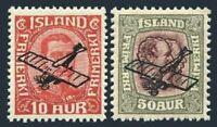 Iceland C1-C2,MNH.Michel 122-123. Air Post 1928-1929.Plane overprinted.