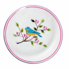 Village Candle 16cm Pink Bird Hand Painted Candle Plate