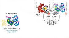 Cook ISL 2016 FDC Anno del Gallo 2017 2 V COVER cinese Capodanno Lunare FRANCOBOLLI