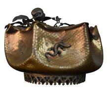 Coupe en cuivre embouti Art Nouveau aux insectes et animaux 1900