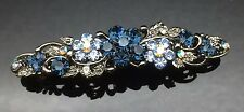 Exquisite Blue Gray Diamante Wedding Crystal Hair Comb Clip Barrette 7cm Bridal