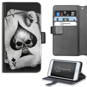 Black And White Skull Card PU Leather Wallet Phone Case, Flip Case