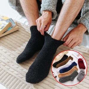 Men Cozy Cashmere Socks Warm Sleep Bed Floor Fluffy Lounge Slipper Fleece Socks
