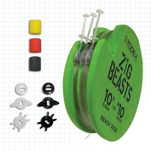 KODEX ZIG BEASTS READY RIGS - 10' SIZE10 BARBLESS HOOKS - 12.9lb HOOKLINK