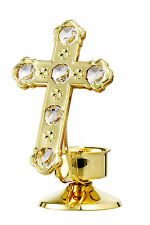 CROSS WITH CANDLE STAND 24K GOLD PLATED GIFT WITH SWAROVSKI CRYSTALS