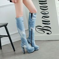 Women's High Heel Zip Platform Knee High Boots Party Shoes AU Plus Size 2-13