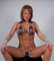 Silver Black Snakeskin Slingshot Microkini Thong Extreme Micro Bikini Black Cord