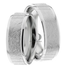 Mixed Brush Matching Wedding Band Set 10K Solid White Gold Wedding Ring Set 7mm