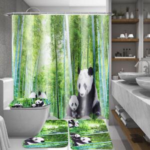 4Pcs Panda Bamboo Set Shower Curtain + Non-Slip Rug + Toilet Lid Cover +Bath