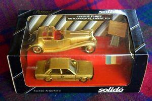 SOLIDO Prestige Centenary 1/43 RARE 1984 24ct gold Bugatti & Peugeot MIB France