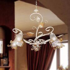 Lampadario ferro battuto plafoniera bianco shabby 5 Luci vetri di murano