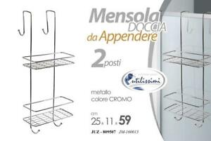 Mensola Doccia da Appendere Porta Sapone Oggetti Salvaspazio  Metallo 2 Ripiani
