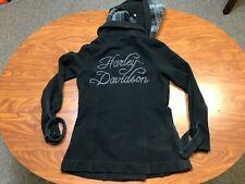 WOMEN USED HARLEY DAVIDSON MOTORCYCLES BLACK LONG HOODED BUTTON SWEATSHIRT SMALL
