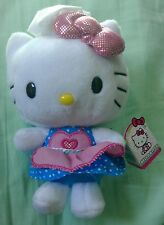 Hello Kitty chef plush toy blue pink sparkle bow stuffed animal cat 3+