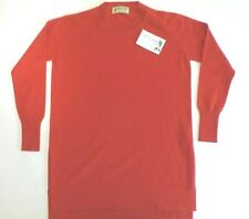 "Glen Oak Scotland scoop neck 100% 2 ply cashmere tunic sweater jumper 38"" orange"