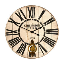 58cm Dia White Kensington Wall Clock - Premier Housewares Large Vintage