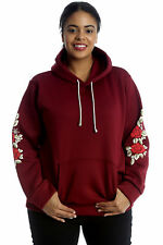 New Ladies Plus Size Hoodie Womens Floral Patch Embroidery Sweat Top Warm Pocket