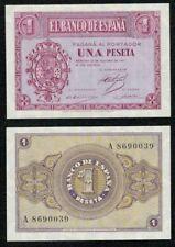 Año 1937. 1 peseta SERIE A nº 8690039. Escudo de Casa de Borbón. PLANCHA.
