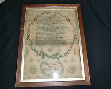 Antique Sampler Embriodery on Linen Dated and Signed 1818