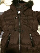 Down Coat with Faux Leather/Fur Detail - Size M Color Burgandy