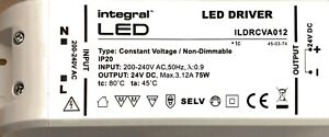 Integral LED 75W Constant Voltage LED Driver, 200-240VAC, Non-Dimmable