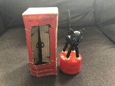Vintage LUCKY FELIX CAT #153 Kohner Wooden Press Action Toys w/ Box Push Puppet