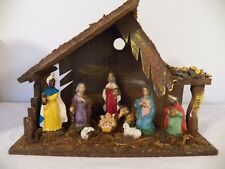 Vintage Wood Nativity/Creche with figurines - Christmas Manger/Stable