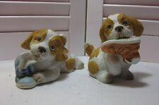 Homco #1405 Set 2 Spaniel Puppies w/ Sneakers Home Interiors Ceramic Figurines