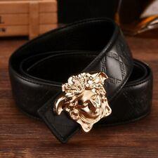 Classic patent faux leather Medusa lion head gold buckle snake croc skin belt