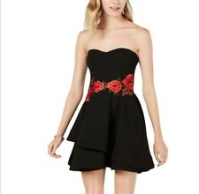 B DARLIN juniors Embroidered Strapless Fit & Flare Dress