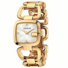 NEW Gucci G-Gucci Gold PVD Diamond Mother of Pearl Women's Watch YA125513
