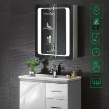 Wall Mounted Bathroom LEDs Lighted Mirror Cabinet Storage Cabinet w/Clock/Shaver