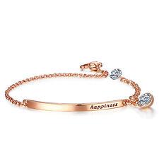 Rose Gold Filled Chain Link Bracelet Bar Cubic Zirconia Charm Adjust Length