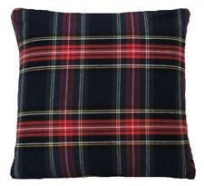 "Tartan Cushion Cover Black Red White Checks Woven Cotton Fabric 16"" 18"" 20"""