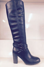 LADIES WOMENS KNEE HIGH BLACK LEATHER STYLE LOW HEEL QUILTED BOOTS SHOES SIZE 6