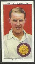 PLAYER'S 1938 CRICKETERS J.E. Timms Card No 27 of 50 CRICKET CIGARETTE CARDS