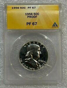 1956 ANACS PF 67 *FRANKLIN SILVER PROOF HALF DOLLAR!  *GEM! (564)
