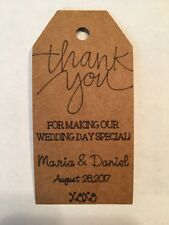 24 Personalized Thank You Wedding Brown Kraft Paper Tag Favor Gift Tags Rustic